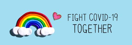 Fight Covid-19 Together message with a rainbow and a heart
