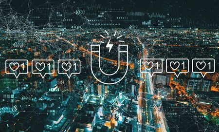Get more likes concept with aerial cityscape view of Japan at night