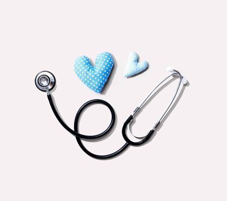 Medical worker appreciation theme with hearts and a stethoscope