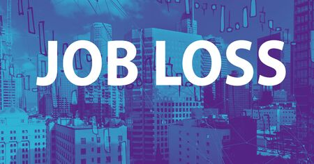 Job Loss theme with downtown Los Angeles skycapers Standard-Bild
