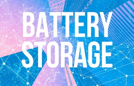 Battery Storage theme with abstract network patterns and skyscrapers