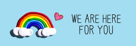 We are Here for You message with a rainbow and a heart Banco de Imagens