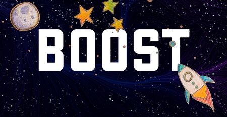 Boost theme with space with a rocket, moon, and stars Imagens