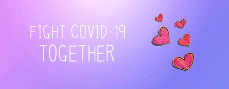 Fight Covid-19 Together message with red heart drawings - flatlay Banco de Imagens