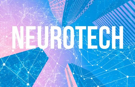 Neurotech theme with abstract network patterns and skyscrapers