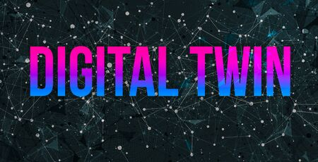 Digital Twin theme with abstract network lines and patterns