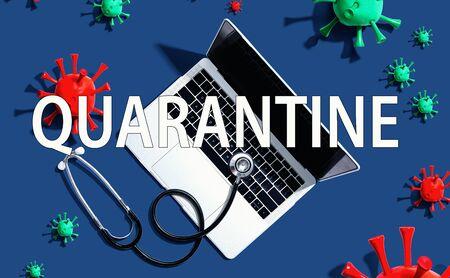 Quarantine Coronavirus theme with stethoscope and laptop computer Stock Photo