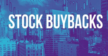 Stock Buybacks theme with downtown Los Angeles skycapers