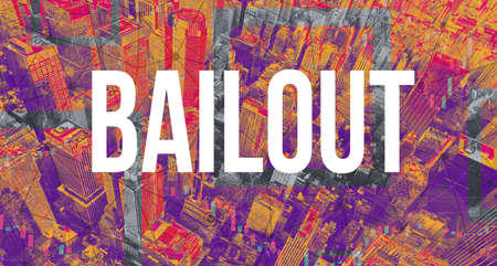 Bailout theme with Manhattan New York City skyscrapers