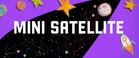 Mini Satellite theme with space background with a rocket, moon, stars and planets