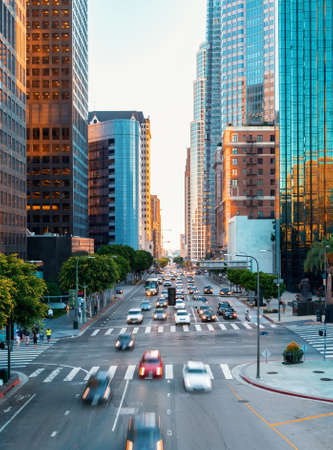 View of Downtown Los Angeles rush hour traffic 스톡 콘텐츠