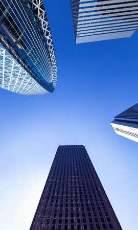 Skyscrapers of Shinjuku, Tokyo, Japan looking up