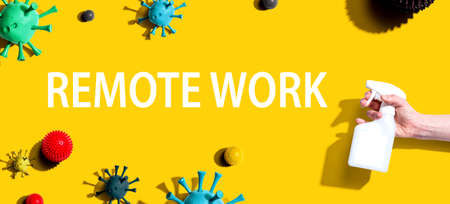 Remote Work theme with sanitizing spray and viruses