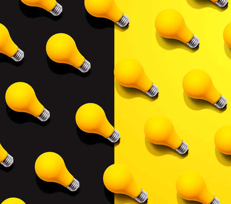 Yellow light bulb pattern with shadow - flat lay