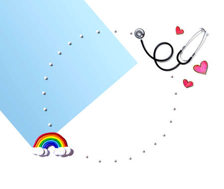 Medical worker appreciation theme with a rainbow and a stethoscope