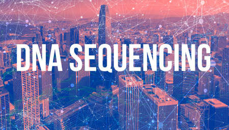 DNA Sequencing theme with abstract network patterns and downtown San Francisco skyscrapers