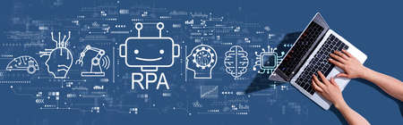 Robotic Process Automation RPA theme with woman using a laptop computer