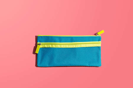 Blue pen case from above - flat lay