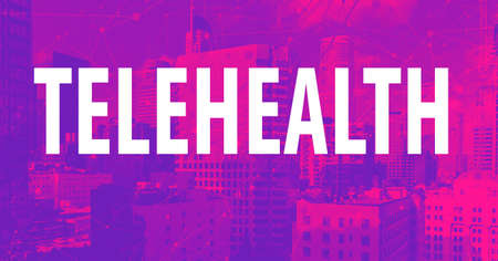 Telehealth theme with downtown Los Angeles skycapers