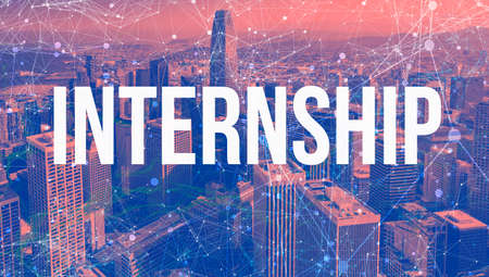 Internship theme with abstract network patterns and downtown San Francisco skyscrapers