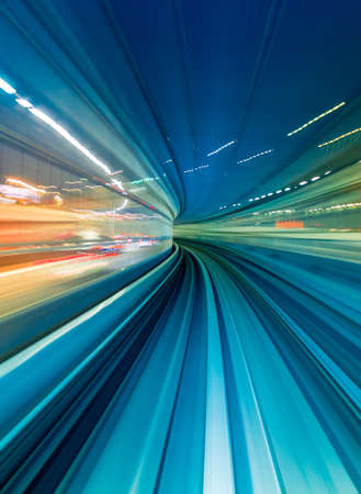 Abstract high speed technology POV train motion blurred concept from the Yuikamome monorail in Tokyo, Japan