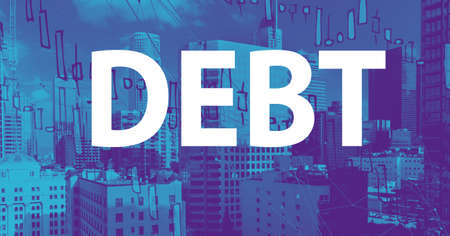 Debt theme with downtown Los Angeles skycapers Banco de Imagens