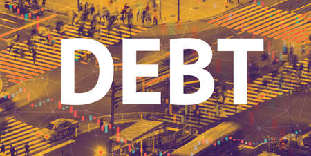 Debt theme with a busy city intersection