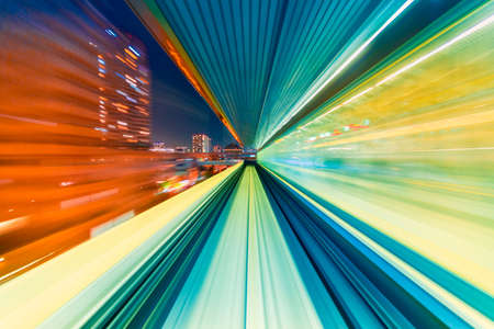 Abstract high speed technology POV train motion blurred concept from the Yuikamome monorail in Tokyo, Japan Stockfoto