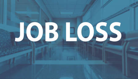Job Loss theme with a medical office reception waiting room background 版權商用圖片