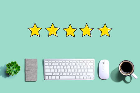 Five star rating with a computer keyboard and a mouse Reklamní fotografie