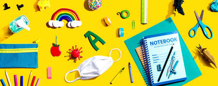 Back to school after Covid-19 theme - flat lay