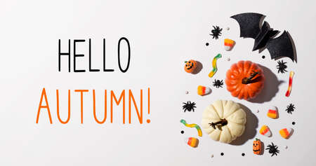 Hello autumn message with Halloween theme background - flat lay