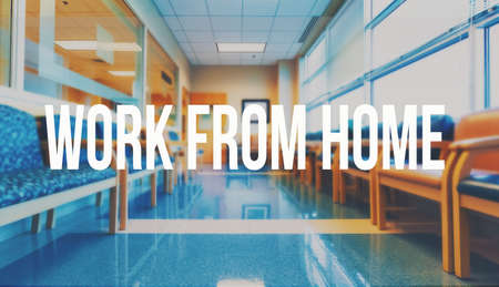 Work From Home theme with a medical office reception waiting room background