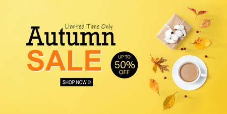 Autumn sale banner with autumn theme with coffee and gift box