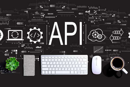 API - application programming interface concept with a computer keyboard and a mouse
