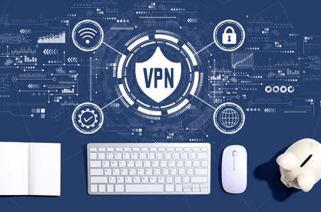VPN concept with a computer keyboard and a piggy bank Banco de Imagens