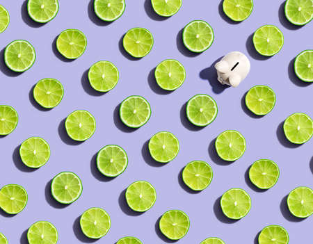 One out unique piggy bank surrounded by limes - flat lay