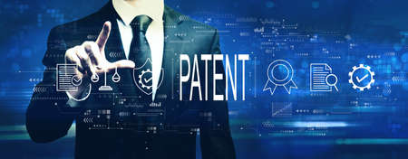 Patent concept with businessman on a dark blue background