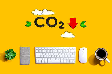Reduce CO2 concept with a computer keyboard and a mouse Фото со стока