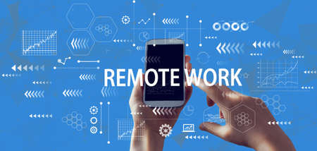 Remote Work theme with person holding a white smartphone