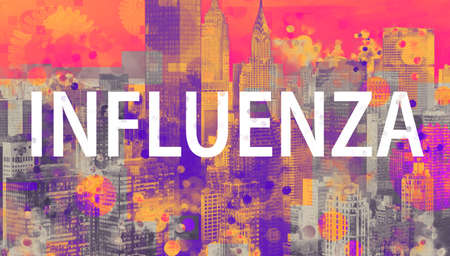 Influenza theme with the New York City skyline background