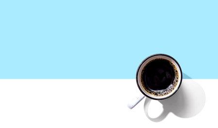 Coffee mug pattern overhead view - flat lay