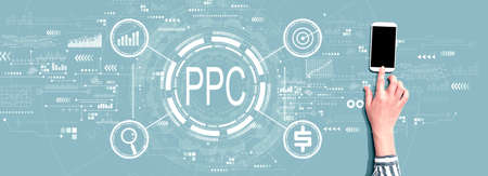 PPC - Pay per click concept with person using a smartphone