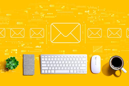 Email concept with a computer keyboard and a mouse