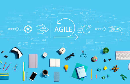 Agile concept with collection of electronic gadgets and office supplies Reklamní fotografie