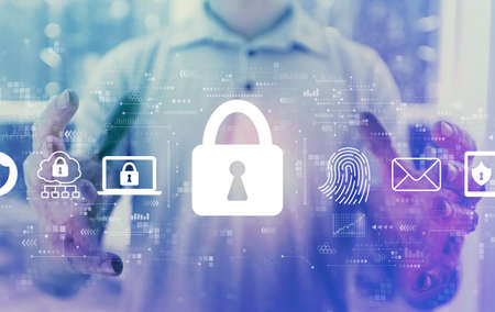 Internet network security concept with young man holding his hands Standard-Bild
