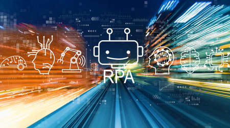 Robotic Process Automation RPA theme with abstract high speed technology motion blur Standard-Bild