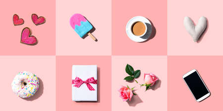 Appreciation theme with roses, smartphone, coffee, and gift box - flatlay Standard-Bild