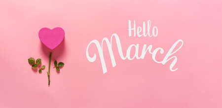 Hello March message with heart flower top view flat lay