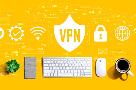 VPN concept with a computer keyboard and a mouse Stock Photo
